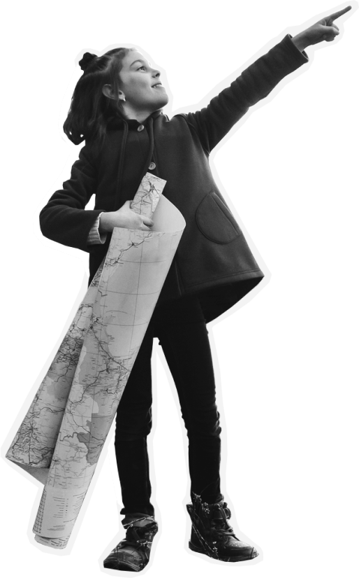 Girl with map in hand